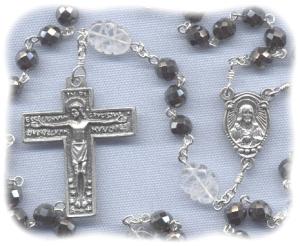 Hematite and Quartz Stone Rosary