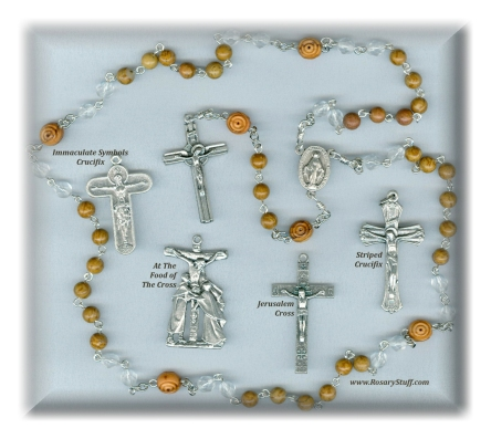 Wood Jasper, Czech Glass, and Olivewood Rosary