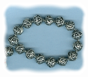 Silver Plate Heart Filigree Pater Beads 9mm