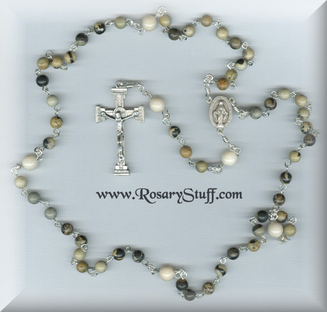 Custom Paintbrush Jasper and River Stone Rosary